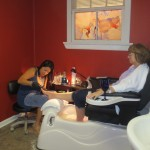 Paula relaxing during pedicure