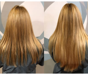 Before & After Hotheads Extensions – longer, thicker hair in less time