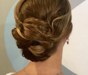 Low Chignon with Side Swept bangs